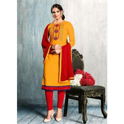 Women Salwar Kameez Orange Color Cotton