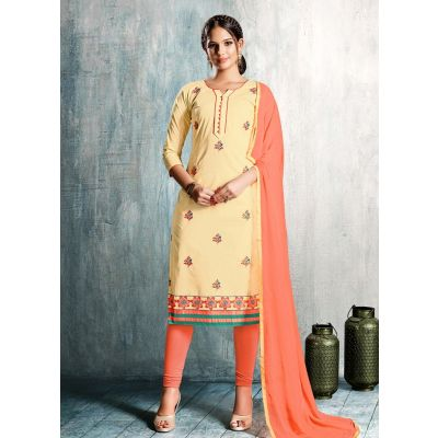 Women Salwar Kameez Beige Color Cotton