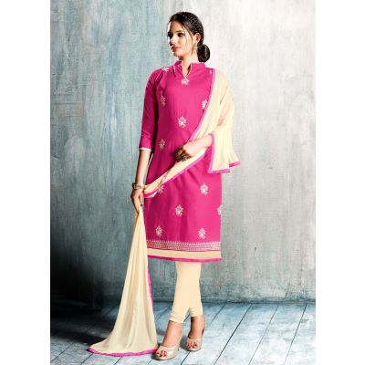 Women Salwar Kameez Pink Color Cotton