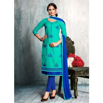 Women Salwar Kameez Blue Color Cotton