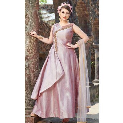 Women Gown Satin Pink color Designer