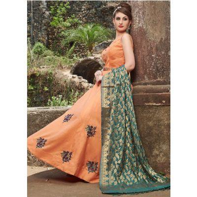 Women Gown Satin Orange color Designer