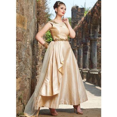 Women Gown Satin Beige color Designer