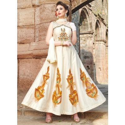 Women Gown Satin Off White color Designer