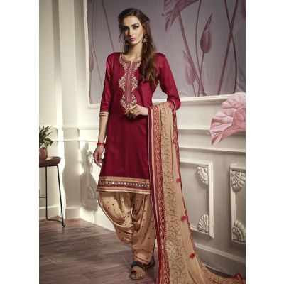 Women Salwar Kameez Maroon color Patiyala Suita