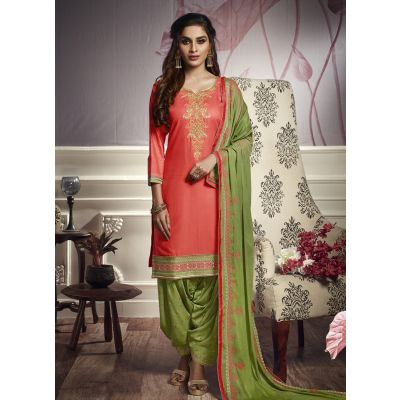 Women Salwar Kameez Orange color Patiyala Suita