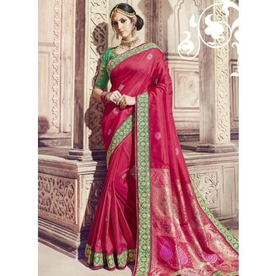 Women Saree Red Color Silk Designer