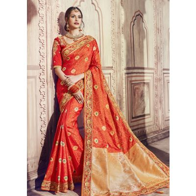 Women Saree Orange Color Silk Designer