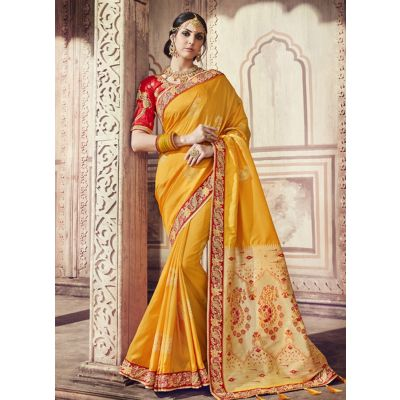 Women Saree Yellow Color Silk Designer
