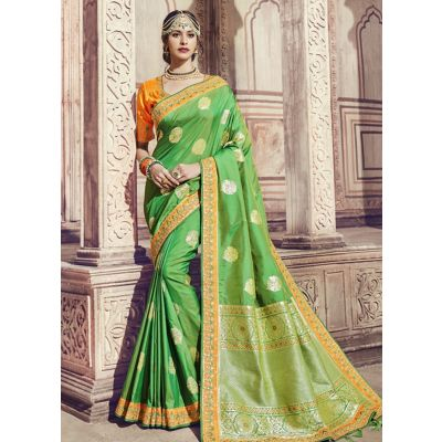 Women Saree Green Color Silk Designer