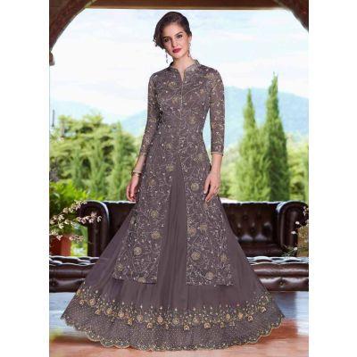 Women Salwar Kameez Brown color Net