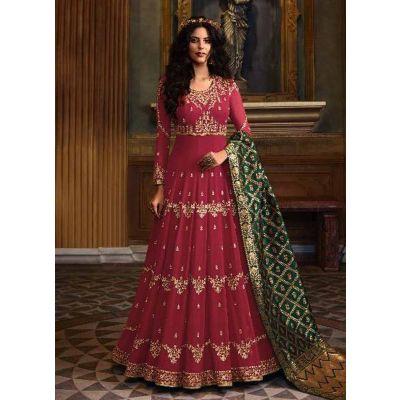 Women Salwar Kameez Georgette Maroon color