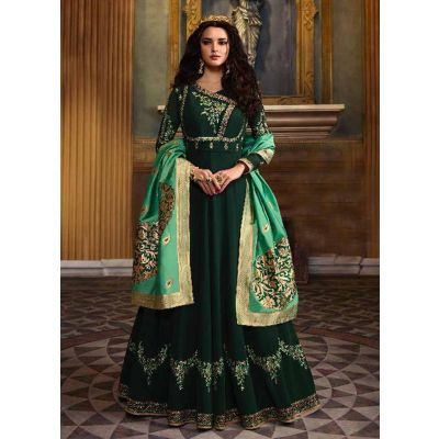Women Salwar Kameez Georgette Green color