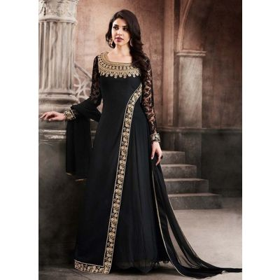 Women Salwar Kameez Black color Georgette