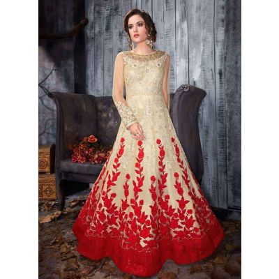 Women Gown Off White and Red color Designer
