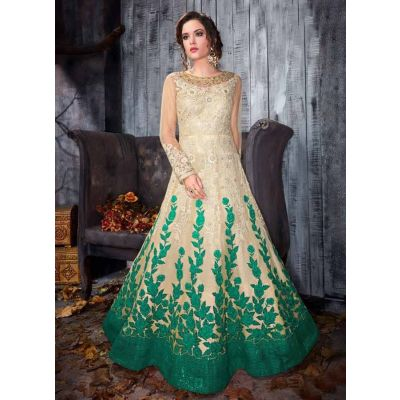 Women Gown Off White and Green color Designer