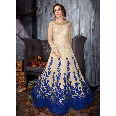 Women Gown Off White and Blue color Designer