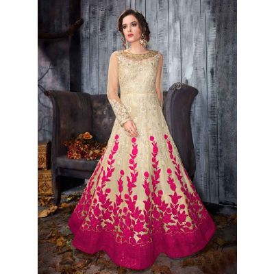 Women Gown Off White and Pink color Designer