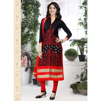 Designer Casual Wear Glaze Cotton Salwar Suits