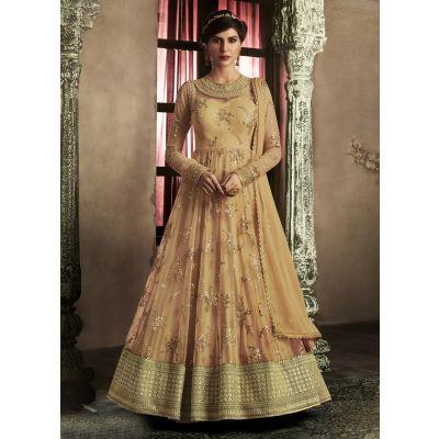 Orange color Designer-Net Salwar Kameez