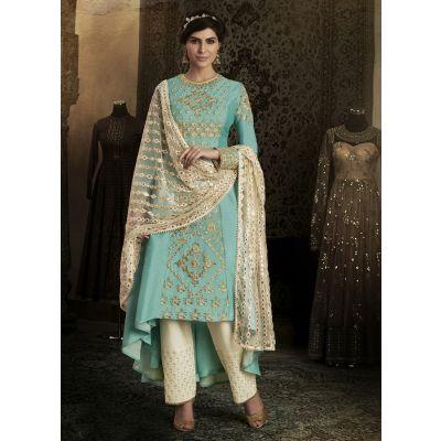 Blue color Designer-Silk Salwar Kameez