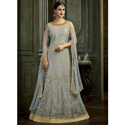 Women Salwar Kameez Grey color Anarkali Suits
