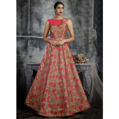 Women Gown Pink and Gold color Designer