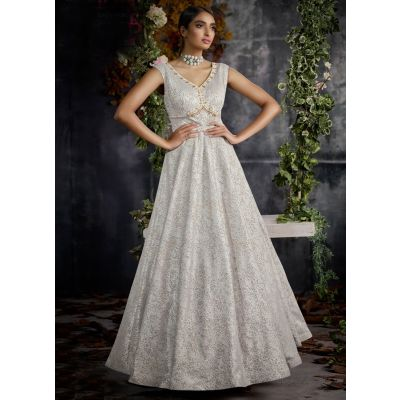 Women Gown Silver color Designer