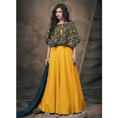 Women Gown Green and Yellow Color Silk