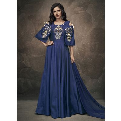 Women Gown Blue Color Silk