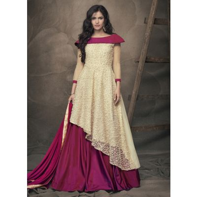 Women Gown Purple and Off White Color Silk