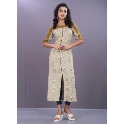 Women Ready Made Kurti Off White color
