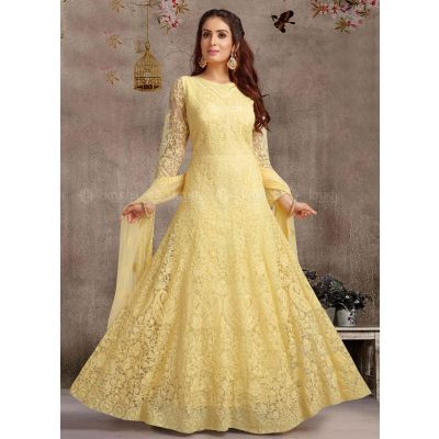 Women Ready Made Salwar Yellow color Party Wear