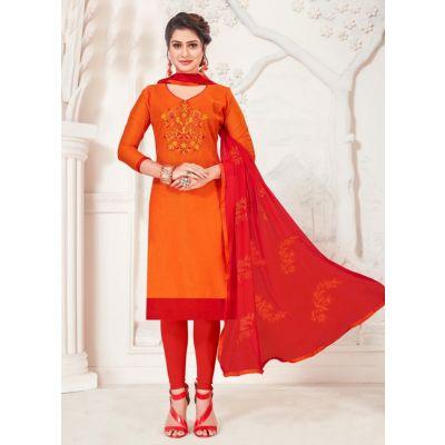 Women Salwar Kameez Orange Color Casual