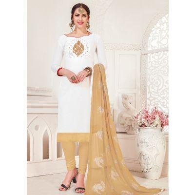 Women Salwar Kameez White Color Casual