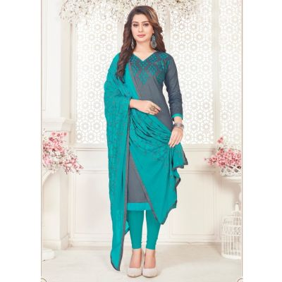 Women Slawar Kameez Grey Color Straight Suits