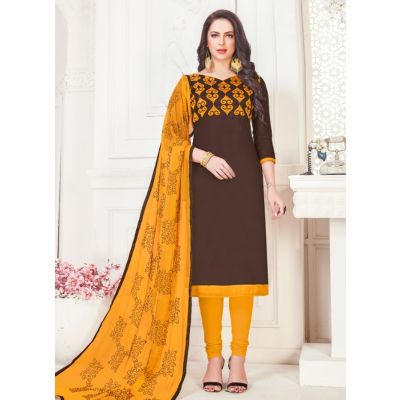 Women Slawar Kameez Brown Color Straight Suits