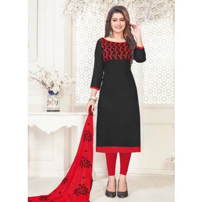 Women Slawar Kameez Black Color Straight Suits
