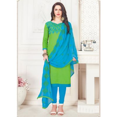 Women Slawar Kameez Green Color Straight Suits