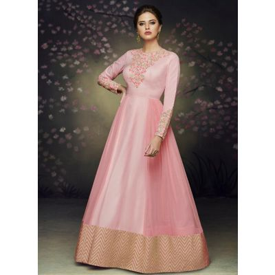 Women Gown Silk Pink color