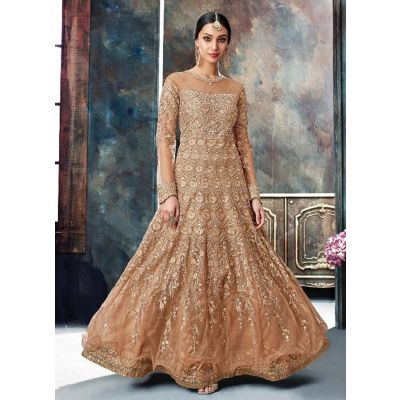 Women Salwar Kameez Anarkali Suits Brown color