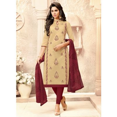 Women Salwar Kameez Beige color Straight Suits