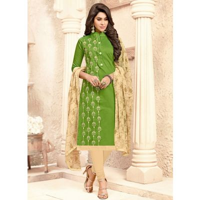 Women Salwar Kameez Green color Straight Suits