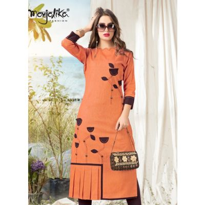 Women Ready Made Kurti Orange color Formal
