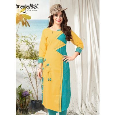 Women Ready Made Kurti Yellow and Blue color Formal