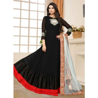 Black color Designer-Georgette Salwar Kameez