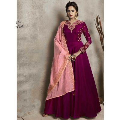 Women Long Kurti Pink color Silk