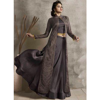 Women Long Kurti Brown color Silk