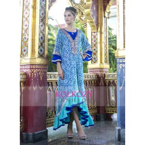 Blue Color Embroidery Formal Party wear Maxi Dress