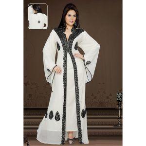 Womens Kaftan White color Arabian Design wear